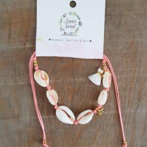 Enkelbandje roze Schelpen Luxe